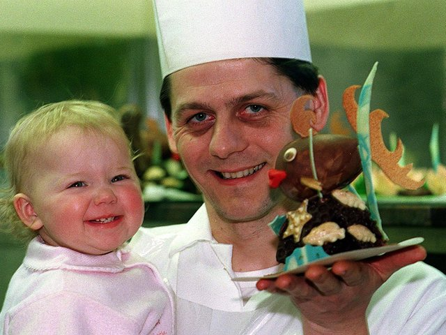 Little Juliette Dumouchel must be the luckiest toddler in Leeds. Her father, Thierry, has been making Easter eggs at his Garforth patisserie.