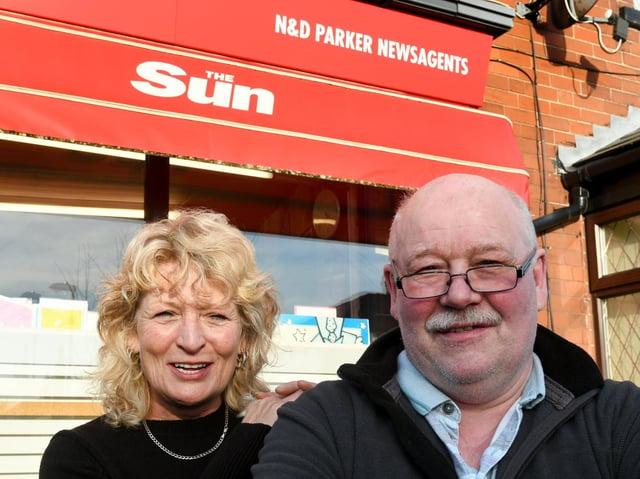 Debra and Neil Parker of N & D Parker Newsagents, Beeston, Leeds.  Photo: Gary Longbottom