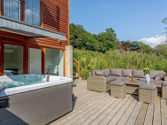 The Waterside Lodge is nestled in parkland near Elland