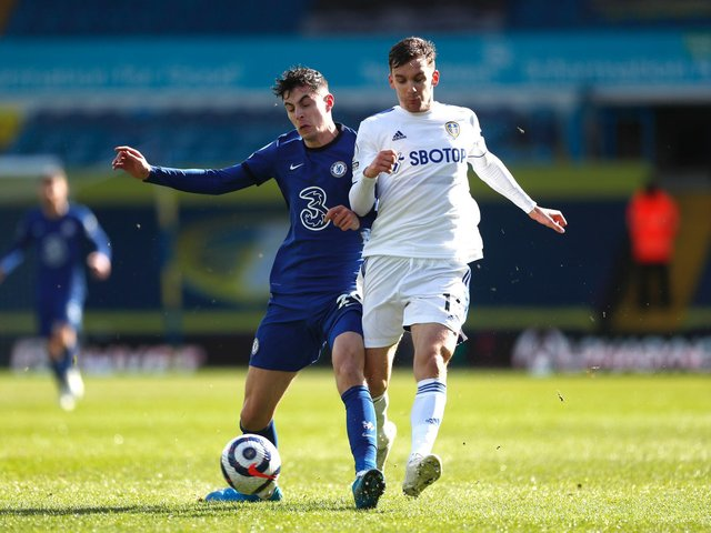 THRIVING: Leeds United's Spanish international centre-back Diego Llorente, right, battling Chelsea's Kai Havertz in Saturday's goalless draw against Chelsea at Elland Road. Photo by Lee Smith - Pool/Getty Images.