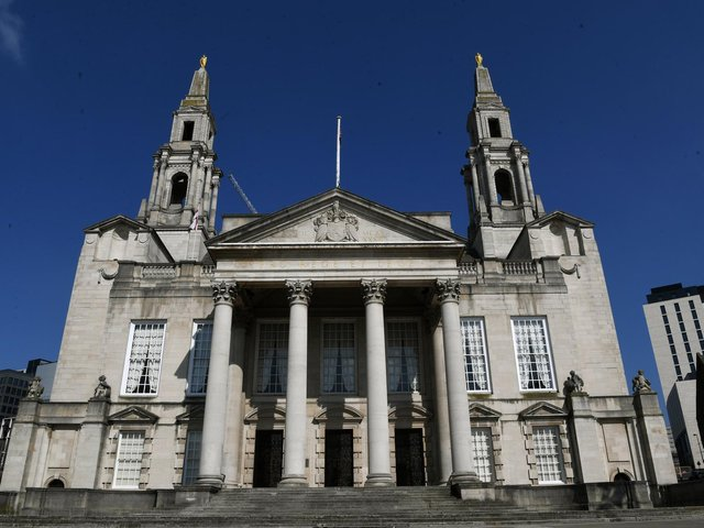 Leeds Civic Hall will benefit from upgrades to help halve the authority's own carbon footprint by the middle of the decade.