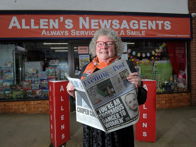 Tracey Lally pictured outside Allen's Newsagents, Commercial Street, Rothwell.  Photo: Simon Hulme