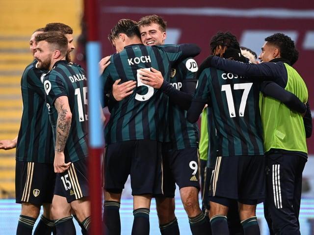 Leeds United celebrate against Aston Villa earlier in the Premier League season. Pic: Getty