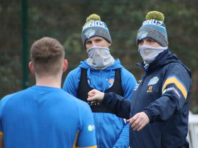 Richard Agar, pictured earlier in pre-season, says more work needs to be done on Rhinos' combinations. Picture by Phil Daly/Leeds Rhinos