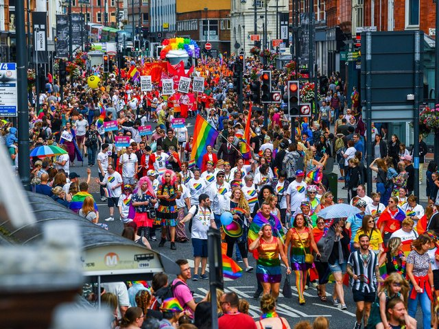 Leeds Pride 2021 has been cancelled. Pictured: 2019 Parade to celebrate LGBT+ people in Leeds.