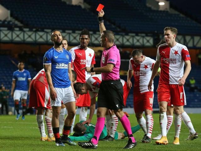 Former Leeds United striker Kemar Roofe sent off for Rangers against Slavia Prague. Pic: Getty