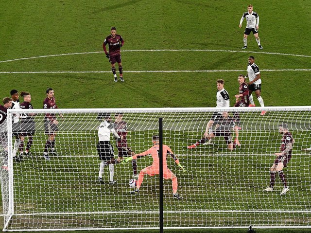 Leeds United defend a Fulham attack at Craven Cottage. Pic: Getty
