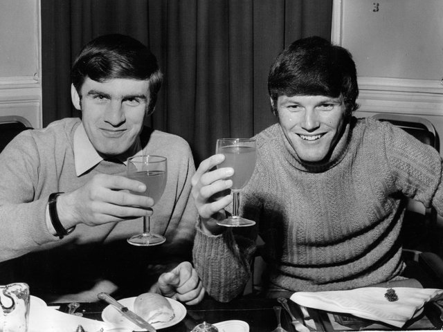 CLOSE: Leeds United team mates and room mates Peter Lorimer, left, and Eddie Gray, right, back in April 1970. Picture by YPN.