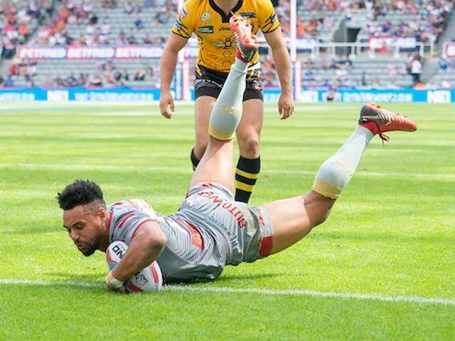 Jodie Broughton, pictured in try scoring action for Catalans Dragons, could make his Batley debut on Saturday.