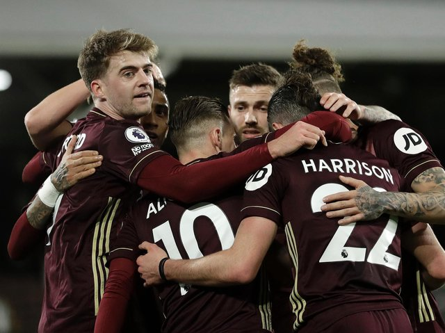 Leeds United's Patrick Bamford celebrates with his teammates at Craven Cottage. Pic: Getty