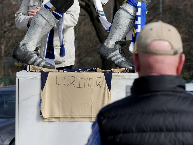 Leeds fans paying tribute to 'Hot Shot' club legend Peter Lorimer.