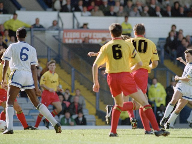 AT THE DOUBLE: Steve Hodge, right, netted a brace in Leeds United's 4-3 victory against Sheffield United at Elland Road of October 1991. Picture by Varleys.