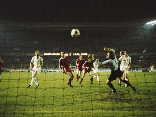 ONE THAT GOT AWAY: Peter Lorimer, sixth from the left, fires past goalkeeper Sepp Maier in the 1975 European Cup final only to see the strike disallowed for   Billy Bremner, second left, being ruled offside. Photo by Don Morley/Allsport/Getty Images.