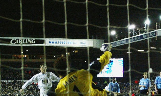 Leeds United striker Mark Viduka scores a penalty against Manchester City. Pic: Getty