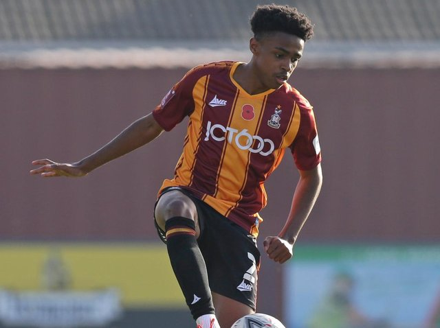 Leeds United loanee Bryce Hosannah in action for Bradford City. Pic: Getty