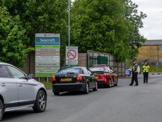 Cars queuing at Seacroft Household Waste Recycling Centre.