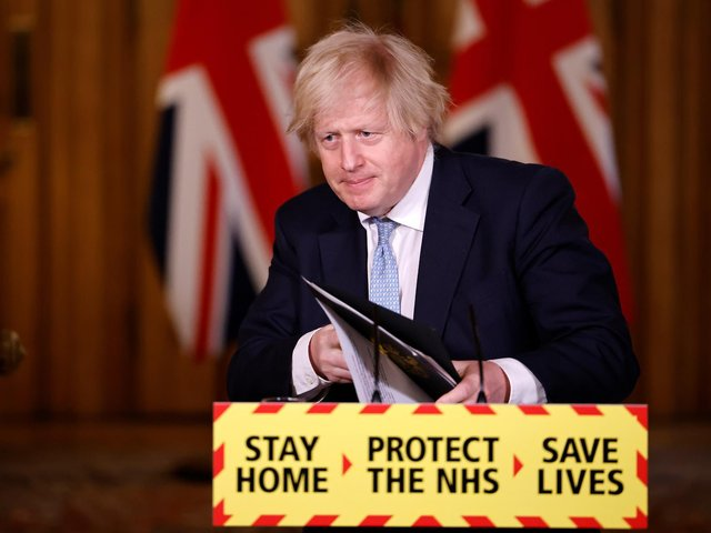 Prime Minister Boris Johnson, during a media briefing in Downing Street, London, on coronavirus (Covid-19). Picture date: Thursday March 18, 2021. (photo: PA Wire/ Tolga Akmen)