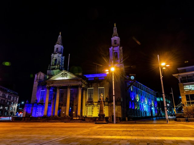 Buildings across Leeds were lit up in blue and yellow in January to remember lives lost to Covid