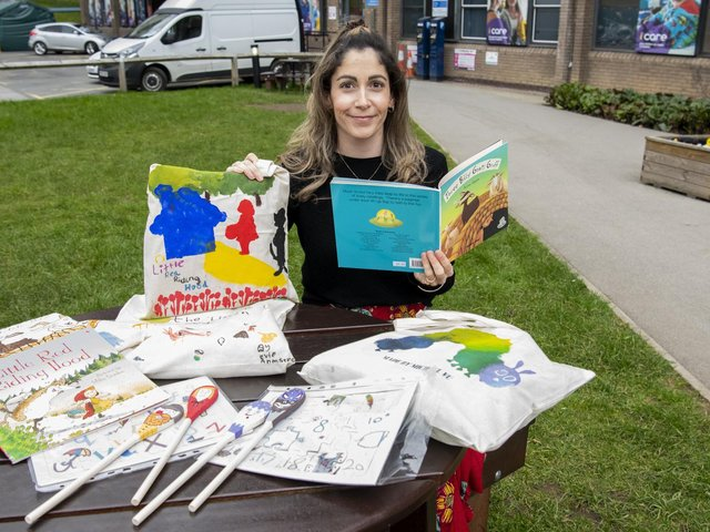 Hospital teacher Hannah Clay, with some of the story sacks and resources made by children at Leeds Children's Hospital as part of a global project. Picture: Tony Johnson