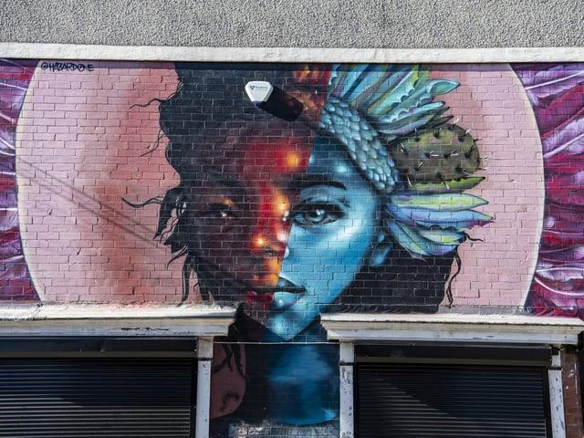 The Warrior Girl artwork on Getaway Girls in Bexley Road, Harehills, by artists Harriet Wood @hazard0ne. Photo taken by Tony Johnson.
