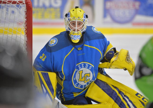 HOPEFUL: Netminder Sam Gospel, in action for Leeds Chiefs against Hull Pirates last season. Picture: Dean Woolley.
