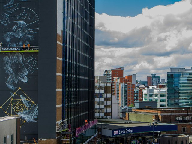 The Athena Rising mural on the side of the Platform Building at Leeds Station, created by Hayley Garner and Joy Gilleard of Nomad Clan. Photo: James Hardisty