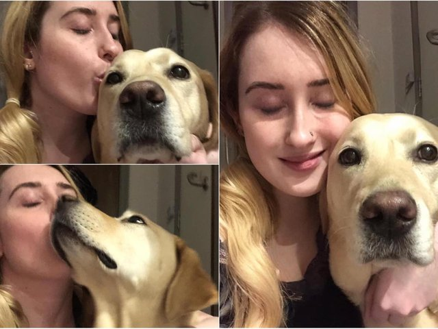 Kimberley Burrows reunited with her labrador guide dog on Tuesday after over 200 days apart (photos: Kimberley Burrows)
