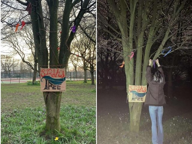 The tree for Sarah Everard on Woodhouse Moor.