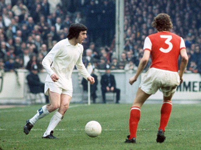 MENACE: Leeds United's Peter Lorimer, left, caused chaos as the Whites defeated double holders Arsenal 3-0 on March 25, 1972 at Elland Road. Picture by Varleys.