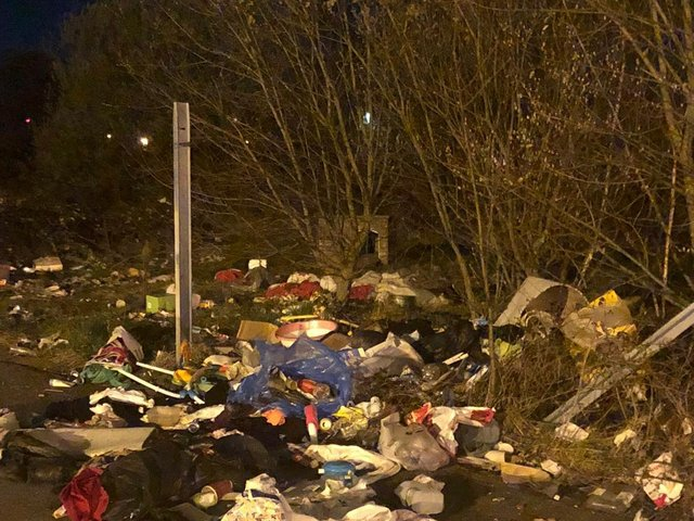 Rubbish left behind by the travellers at the Castlefield car park