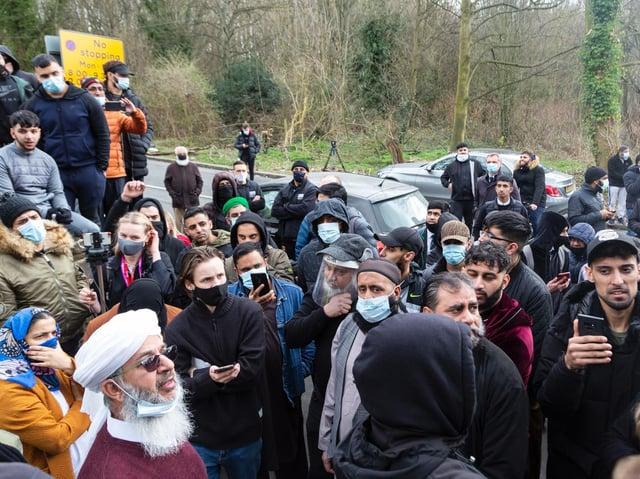 Protests outside Batley Grammar School.