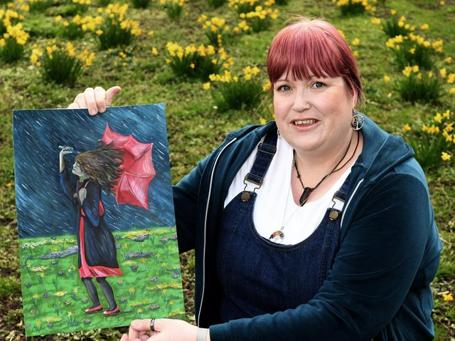 Sarah Thornton, from Beeston, with her painting 'Facing The Storm'