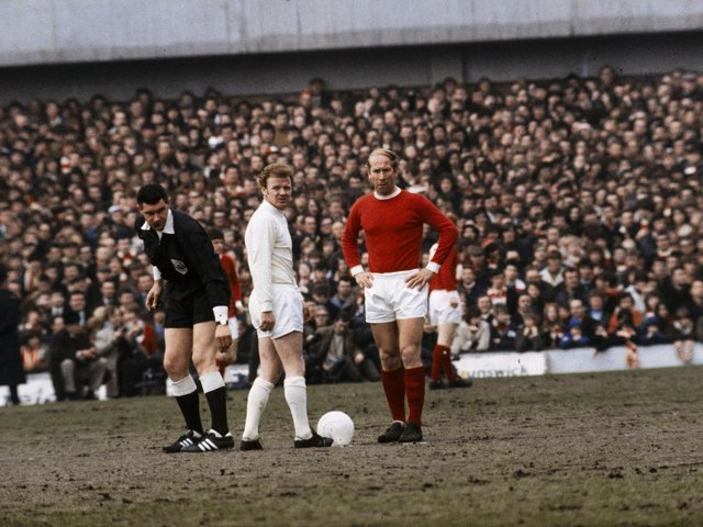 DECISIVE: Leeds United and Manchester United met five times during the 1969-70 season but Billy Bremner, centre, scored the winner as the Whites finally progressed past the Red Devils in the FA Cup. Photo by A. Jones/Express/Getty Images.