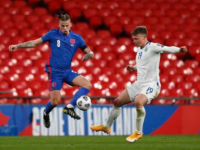 FIFTH CAP: For Leeds United midfielder Kalvin Phillips, left, pictured during Thursday night's 5-0 victory against San Marino at Wembley. Photo by Adrian Dennis - Pool/Getty Images.