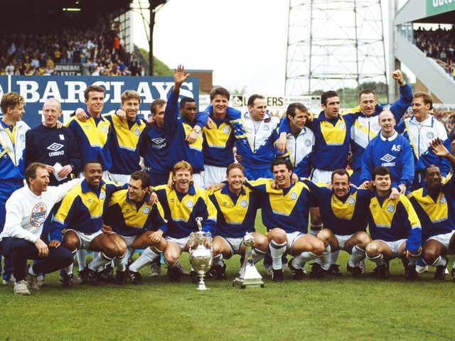 CHAMPIONS: Leeds United with the 1991-92 Football League Division One trophy. Photo by Getty Images.