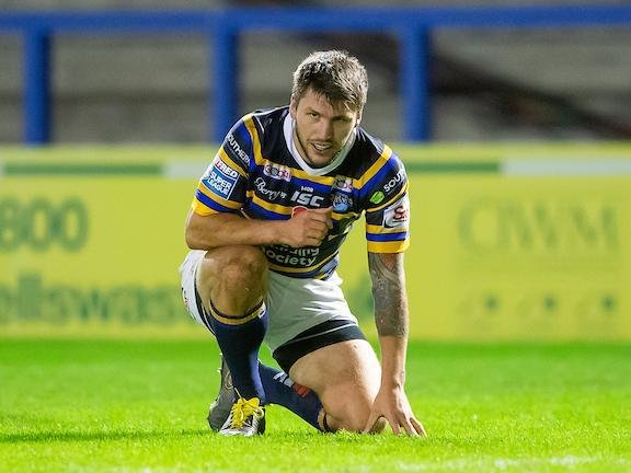 Tom Briscoe shows his disappointment after Rhinos' play-offs exit against Catalans Dragons last year. Picture by Allan McKenzie/SWpix.com .
