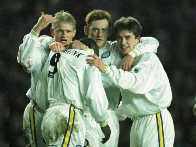 DELIGHTFUL DOUBLE: For Alf-Inge Haaland, left, pictured during Leeds United's 4-0 victory against Blackburn Rovers of March 1998. Pitcure by Varleys.