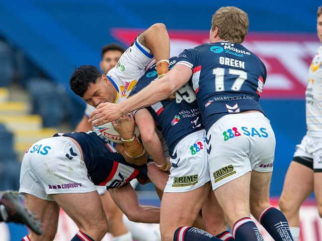 Zane Tetevano made his debut for Rhinos. Picture by Bruce Rollinson.