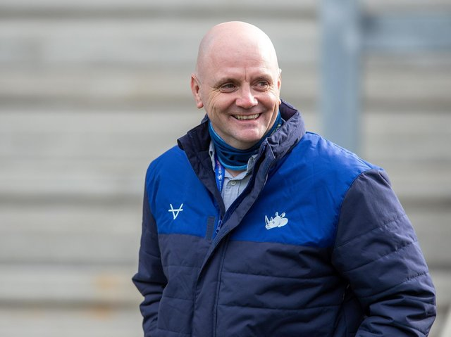 Rhinos coach Richard Agar at Saturday's game. Picture by Bruce Rollinson.