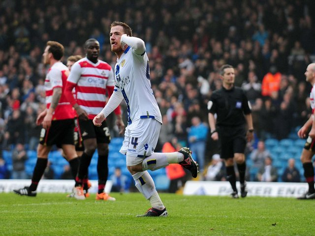RESPONSE: Ross McCormack celebrates his 28th goal of the season in Leeds United's clash against Doncaster Rovers of March 2014 but ultimately to no avail. Picture by Jonathan Gawthorpe.