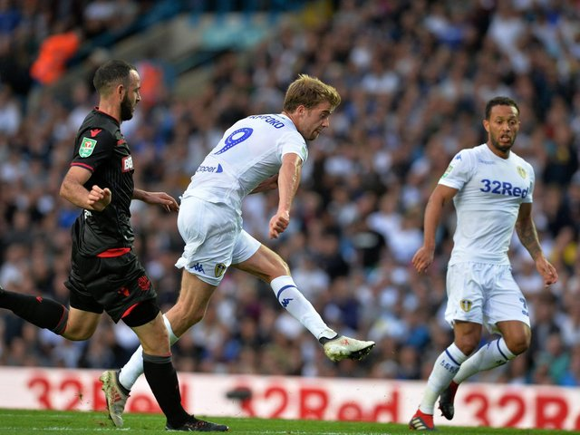 UP AND RUNNING: Patrick Bamford fires in his first goal for Leeds United in the EFL Cup tie at home to Bolton Wanderers of August 2018. Picture by Bruce Rollinson.