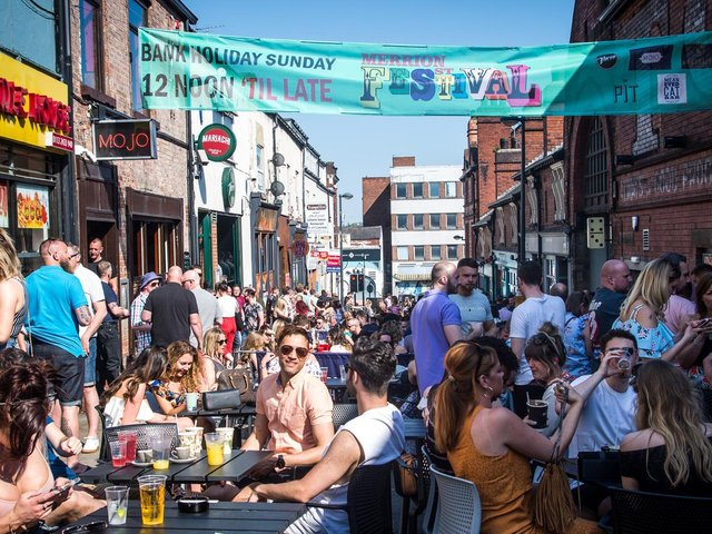 Bars and clubs on Merrion Street have teamed up to create the city's largest outdoor drinking area. Pictured: Last year's festival.
