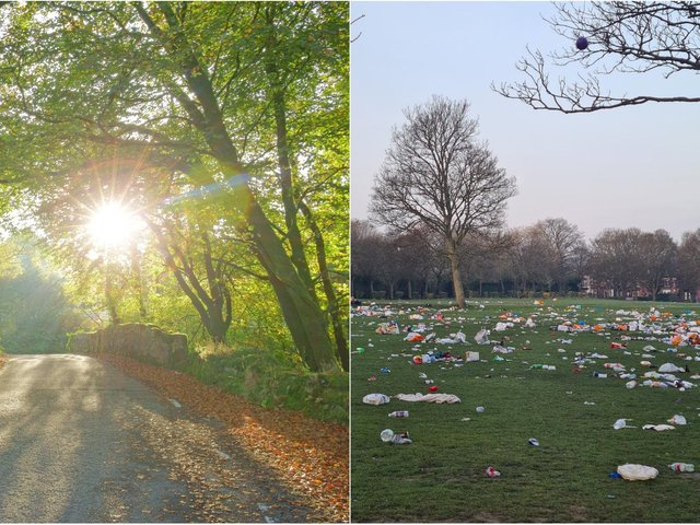 Woodhouse Moor was packed with sun seekers on Tuesday, leaving this litter chaos behind. More sunshine is forecast for Leeds on Wednesday