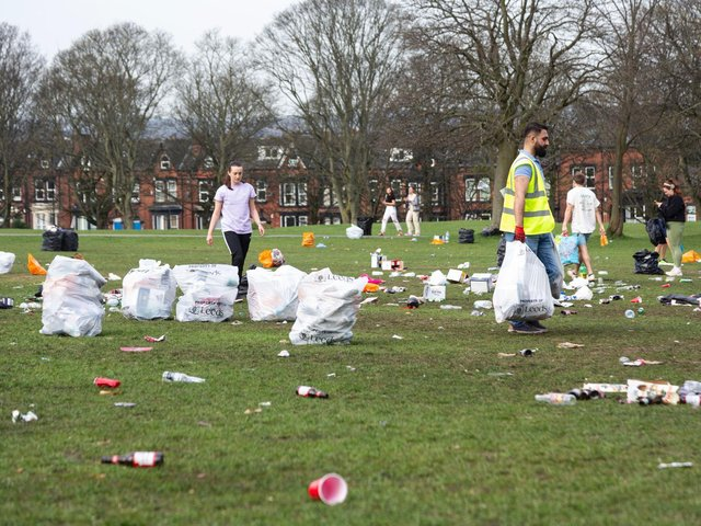 Woodhouse Moor was covered in litter after crowds were seen out drinking and socialising in the sun on Tuesday (photo: SWNS)