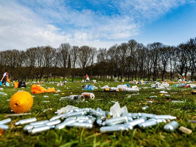 Rubbish left on Woodhouse Moor. Photo: James Hardisty