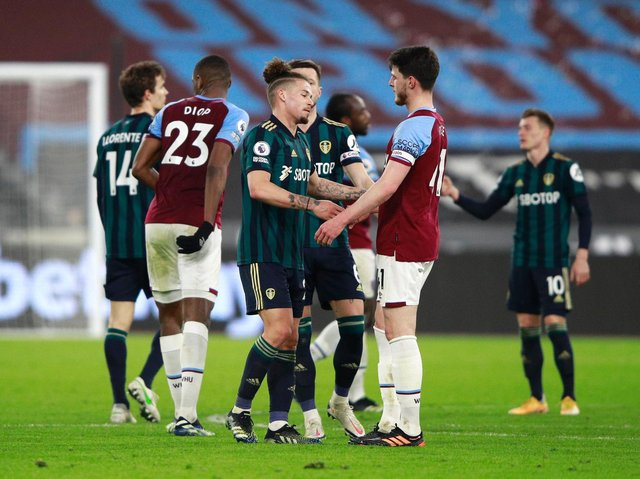 Leeds United's Kalvin Phillips and West Ham's Declan Rice greet after their Premier League meeting. Pic: Getty