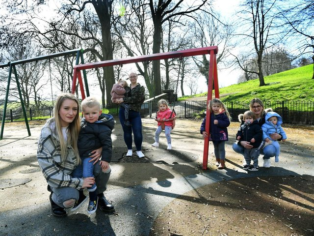 Lucy Williams and her son Freddie pictured at Western Flatts Park with other mums and kids who are campaigning to have the play area renovated