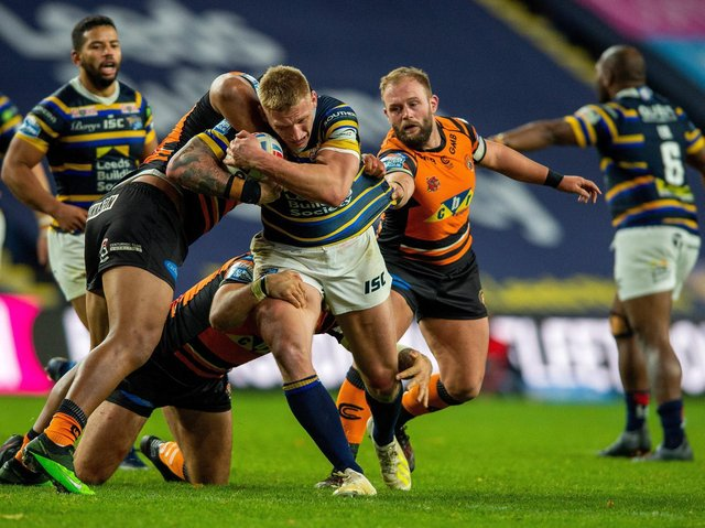 Mik Oledzki drives forward for Rhinos in thier 28-24 win over Tigers at Headingley last October. Picture by Bruce Rollinson.