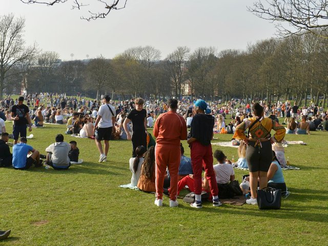 Hundreds of people packed into Woodhouse Moor in Hyde Park again on Wednesday
