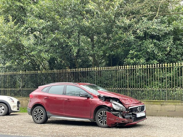 A car involved in the crash outside Harewood House